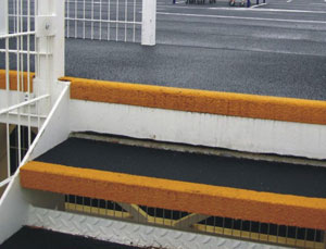 molded fiberglass stair tread covers gritted